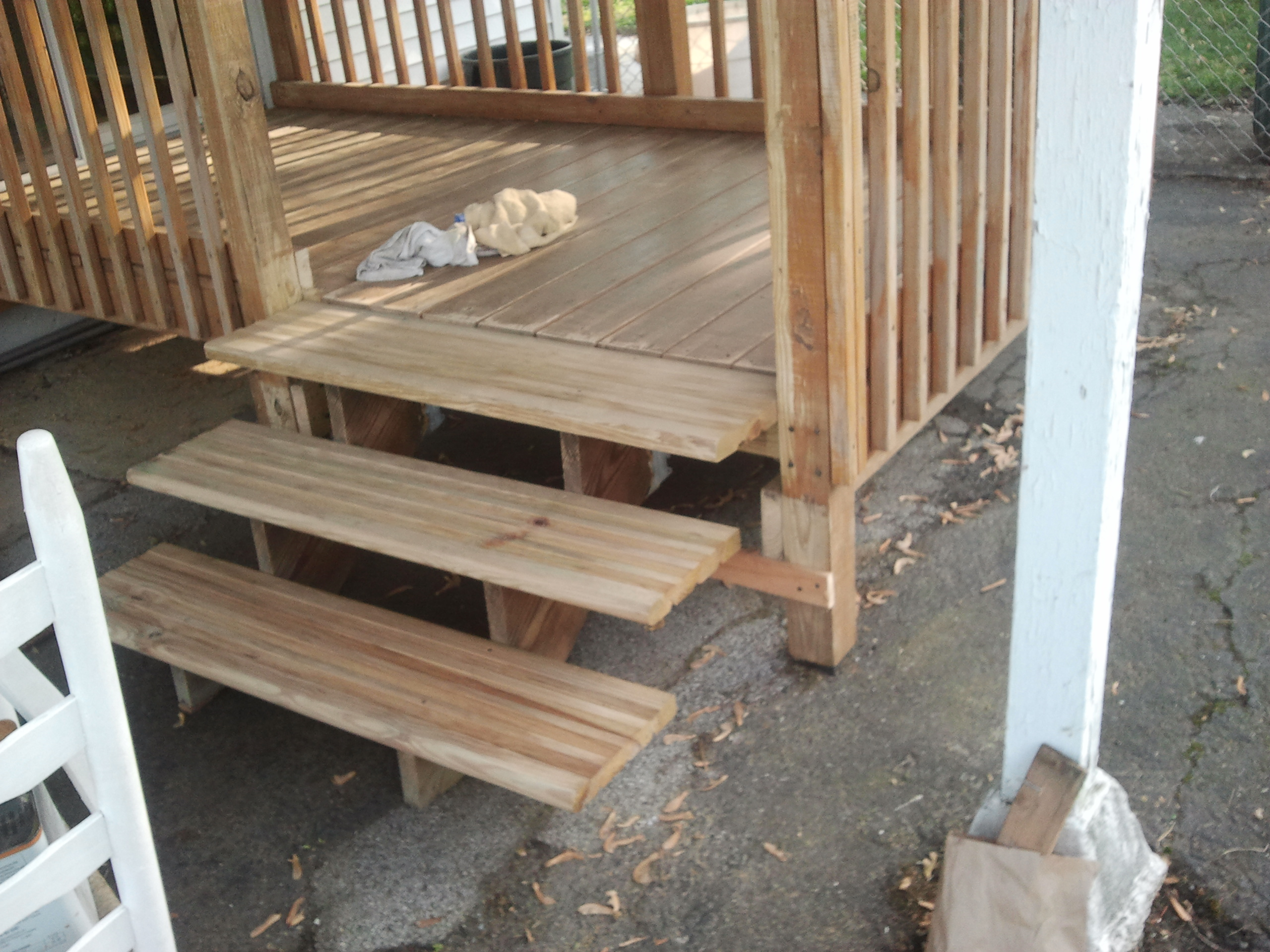 Deck staining modifications steps added to deck nj for Deck stairs pictures